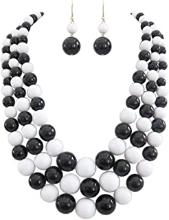 """Rosemarie & Jubalee Women's Multi Strand Simulated Pearl Necklace and Earrings Jewelry Set, 18""""+3"""" Extender"""