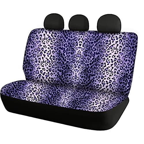 Agroupdream Funda de asiento de coche con estampado de leopardo, color morado para el asiento trasero, solo para mujeres, hombres, mascotas, perros, protección de banco dividido, accesorios de viaje