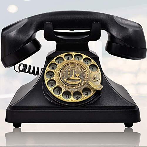 ChangHua1 Teléfono de estilo vintage, rotativo retro, con esfera rotativa, con cable, para teléfono de casa y oficina, tonos de llamada retro (no requiere batería)