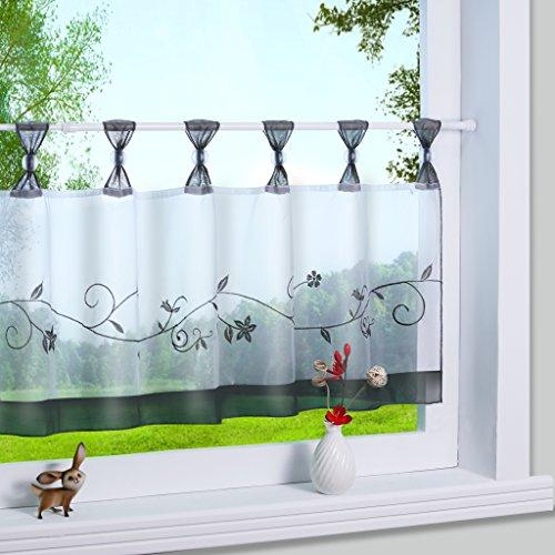 Yujiao Mao 1er Pack Stickblume Schlaufen Scheibengardine kleine Kaffee Vorhang Terri Garn Raffrollo, HxB 45x120cm, Grau