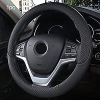ZHANGXX3738CM新車ステアリングホイールカバー人工皮革ステアリングホイールカバー通気性ファブリックブレードオートアクセサリーユニバーサル滑り止めと耐摩耗性