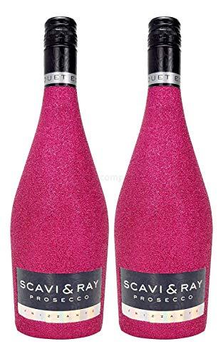 Scavi & Ray Prosecco Frizzante 0,75l (10,5% Vol) - Bling Bling Glitzer Glitzerflasche Flaschenveredelung für besondere Anlässe - Hot Pink Aktion - 2 Stück (2x 0,75l = 1,5l) -[Enthält Sulfite]