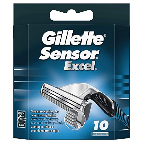 Gillette Sensor Excel Rasierklingen mit Doppelklinge für eine glatte und komfortable Rasur, 10 Ersatzklingen