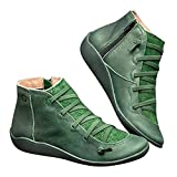 KIOPS Botines Ancho Especial Mujer, Zapatos Mujer con Cremallera Lateral, Botines de Invierno Mujer 2019, Precios directos de fábrica (EU 36, Verde)