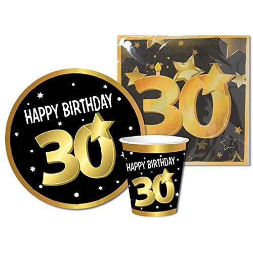 Partycolarità Kit desechable 30 cumpleaños – Juego de vajilla de 30 cumpleaños – 6 platos, 6 vasos y 20 servilletas – Treant'años – Happy Birthday 30