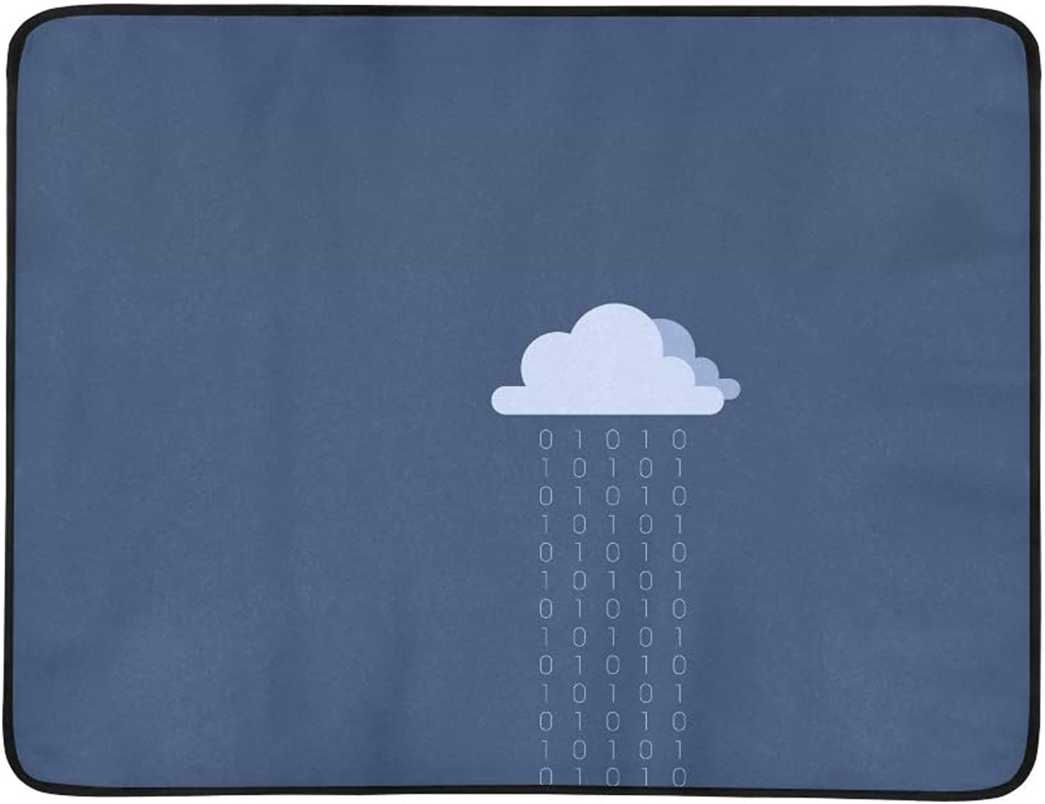Clouds Minimalistic Binary bluee X Wallpaper Pattern Portable and Foldable Blanket Mat 60x78 Inch Handy Mat for Camping Picnic Beach Indoor Outdoor Travel
