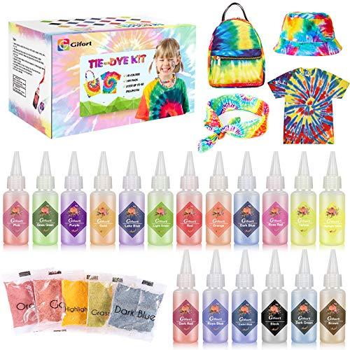 Gifort Tie Dye Kit, Textiles de Tela 18 piezas Colores Vibrantes Pinturas Ropa Tinte Graffiti para Proyectos de Bricolaje y Actividades de Fiesta