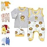 Baby Sweets 3er Baby-Set mit Strampler, Shirt & Mütze für Jungen & Mädchen in Grau Gelb Weiß/Erstausstattung-Babybekleidung-Set im Löwe-Motiv für Neugeborene & Kleinkinder in Größe: Newborn (56)