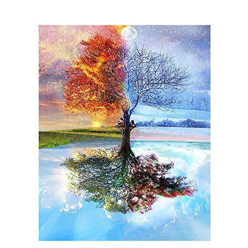 YRWDNV DIY Peinture par Numéro Kit,Peindre par Nombre sur Toile pour Adultes Débutant Arbre des Quatre Saisons Cadeau pour la Décoration Intérieure Maison Réduit l'anxiété 40 * 50cm(sans Cadre)