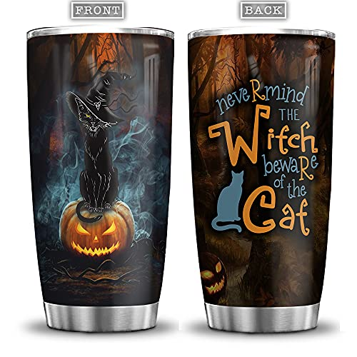 64HYDRO 20oz Nevermind The Witch Beware Of The Cat Witch Black Cat Pumpkin Halloween Tumbler Cup with Lid, Double Wall Vacuum Thermos Insulated Travel Coffee Mug - ADGB1706003Z
