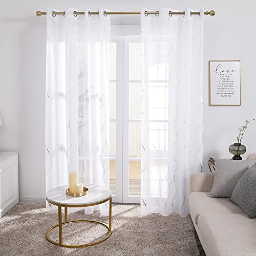 Deconovo White Sheer Curtains - Grommet Silver Foil Printed, Wave Pattern and Linen Look Voile Drapes, 52W x 84L in, 2 Panels
