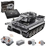 CADA Technik Panzer mit Motor & Fernbedienung, WW2 Militär Tiger Panzer Militär Panzerträger Klemmbausteine Bauset Kompatibel mit Lego Technic - 925 Teile - C61071W