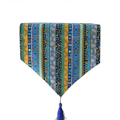 Pince Yue du Sud-est Style Rayures Bleues en Coton et Lin Chemin de Table Chiffon pour Home Décor, 32 x 160 cm, Tissu, 32x160cm