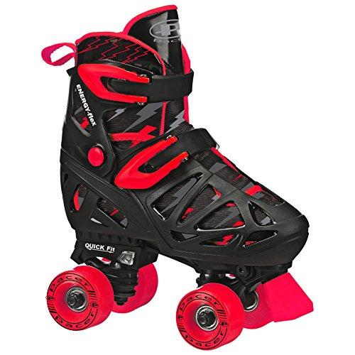 Pacer XT70 Adjustable Artistic Quad Roller Skates for Youth Children (Black Medium)