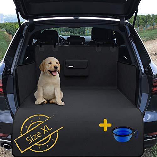 Hundedecke Auto Rückbank/Kofferraum/Vordersitz + gratis Napf | Wasserdicht rutschfest Waschbar | Hunde Autoschutz Kofferraumschutz Autositz Sitzschutz | Autodecke Schutzdecke Schondecke Weich