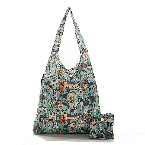 2020 Design Eco Chic Einkaufstasche, 100 {a3d3d420cd015b441f85fef10e732c271f336cb209b2f7c17643223679e224fd} recycelter Kunststoff, faltbar, wiederverwendbar, plastik, Hunde - Grün, Einheitsgröße