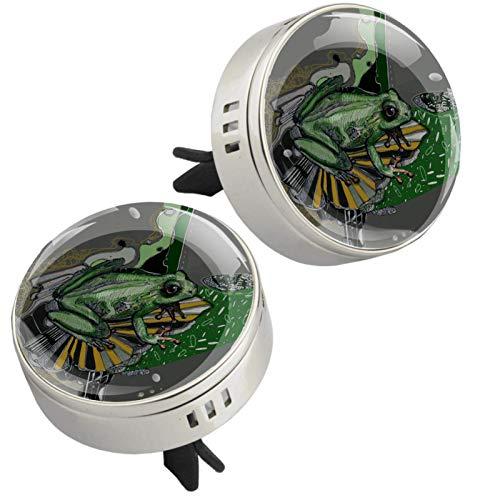 Vector verde del personaje de la rana, 2 unids aromaterapia difusor de aceite esencial clip de ventilación del coche