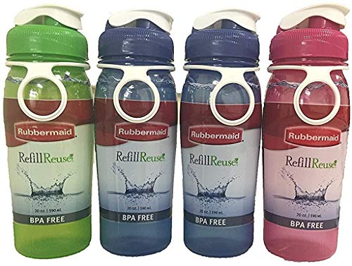 Rubbermaid Refill Reuse Chug Bottle, 20 Ounce, Assorted Colors, 4 Pack
