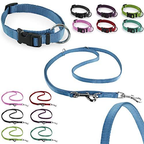 CarlCurt - Classic Line: Hundehalsband & Hundeleine Im Set, Aus Strapazierfähigem Nylon, S 30-45cm & S 1,90m, Hellblau