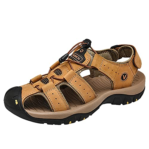 BAOFUBA Men's Closed Trekking Sandals Fisherman Summer Beach Sandals Men'S Trekking Sandals Non-Slip Hiking Sandals Adjustable Heel Strap Sports Outdoor Straßenlaufschuhe Wanderschuhe