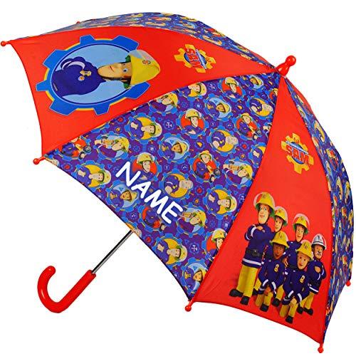 alles-meine.de GmbH Regenschirm -  Feuerwehrmann Sam Jones  - incl. Name - Kinderschirm Ø 73 cm - Kinder Stockschirm - Regenschirm - Schirm für Jungen - Kinderregenschirm / Glo..