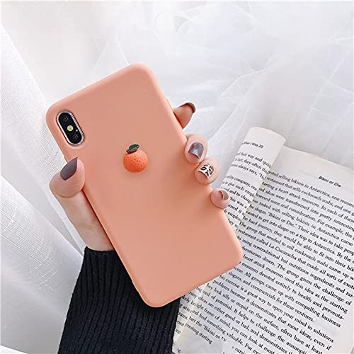 WGOUT Cute 3D Fruit Peach Avocado Macaron Funda de Silicona Suave para iPhone X XR XS 12 11 Pro MAX 6 7 8 Plus para Samsung S10 9 Funda, Naranja, para Note 10