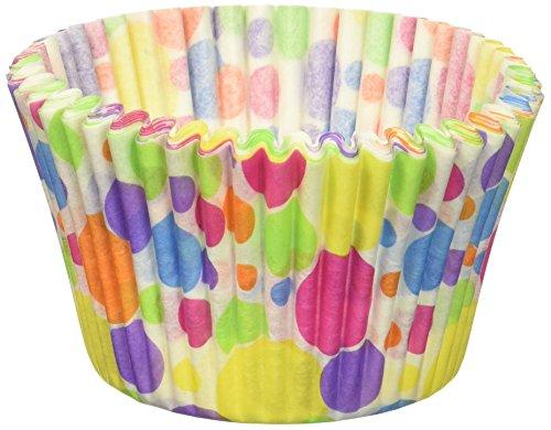 Cupcake Creations Jumbo Rainbow Dots Baking Cups (20/Pack), Multicolor