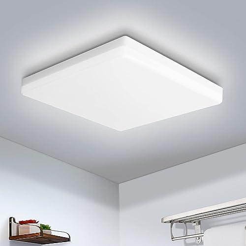 OOWOLF 30cm LED Plafonnier 25W Plafonnier Mince Carré Lampe de Plafond Moderne 5500K 1900lm Blanc Froid pour La Cuisi...