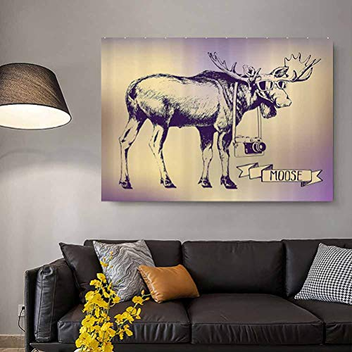 Moose Motivational Wall Art Hipster Deer with Shades Sunglasses and Camera Vintage Ombre Design Funny Animal Art Best Mens Gifts 2020 Purple Beige L30 x H60 Inch