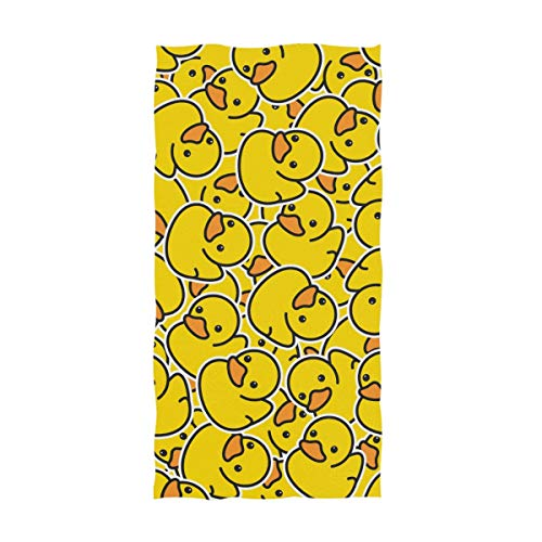 Naanle Cute Rubber Ducky Pattern Soft Highly Absorbent Large Decorative Hand Towels Multipurpose for Bathroom, Hotel, Gym and Spa (16 x 30 Inches,Yellow)