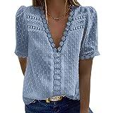 Blusas de Mujer Elegantes,Blusa de Crochet de Encaje con Cuello en V,Camiseta Casual de Manga Corta de Moda para Mujer Top de Color Sólido