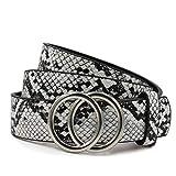 Glamexx24 Cinturón para mujer con doble hebilla de anillo, 2,5 cm de ancho, cinturón de cintura Serpiente Crema Gris 85