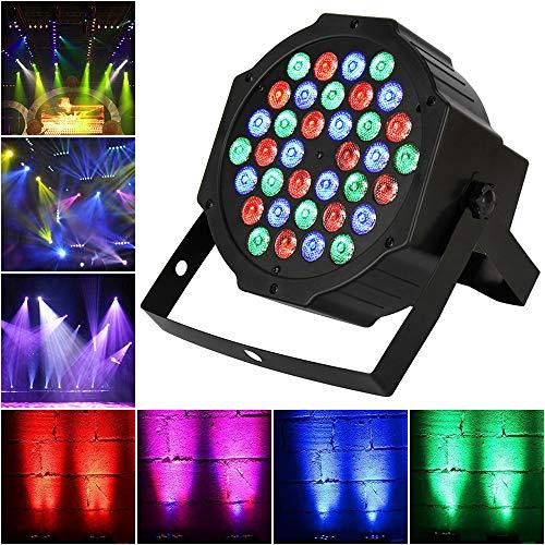 TENKOO LED Par Stage Light, 36 LEDs RGB Sound Activated Party Lights 512 DMX 7 Lighting Color Disco Lights for DJ Club Party Bar Karaoke Wedding Show Live Concert Lighting.(no remote control)