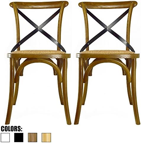 Best 2xhome Set of 2 Walnut Mid Century Modern Farmhouse Antique Cross Back Chair with X Back Assembled S