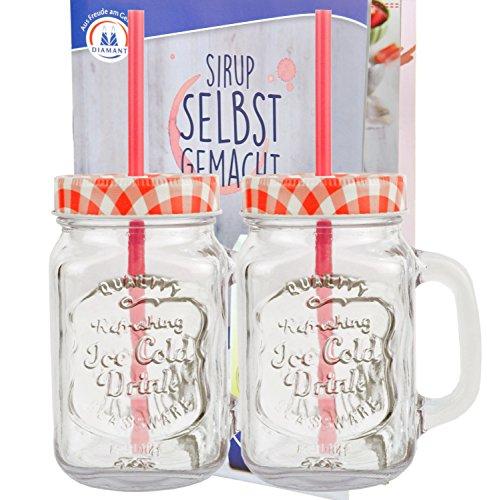 2er Set Glasbecher mit Henkel, Deckel und Trinkhalm inkl. Rezeptheft - rot kariert - 0,5 Liter Trinkbecher/Trinkglas mit Relief - für Säfte, Smoothies und andere Erfrischungsgetränke