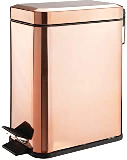 mDesign 5 Liter Rectangular Small Steel Step Trash Can Wastebasket, Garbage Container Bin for Bathroom, Powder Room, Bedroom, Kitchen, Craft Room, Office - Removable Liner Bucket - Rose Gold