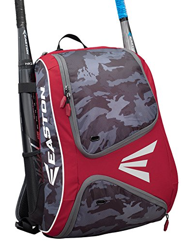 EASTON E110BP Bat & Equipment Backpack Bag | Baseball Softball | 2020 | Red | 2 Bat Sleeves | Smart Gear Storage | Vented Shoe Pocket | Rubberized Zipper Pulls | Fence Hook