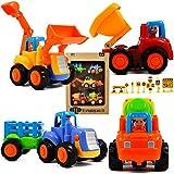 TANDESKIDS Set 4 Tractores Multicolor - Coches Y Camiones De Juguetes - 10 Señales De Tráfico Educativos - Pack de 4 Mini Cars - Tractor Y Vehículos De Fricción