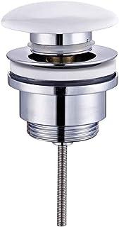 Kibath 171632 Válvula Clic Clac Universal Compatible con la mayoría de lavabos Fabricada en latón, PORCELANA BLANCA