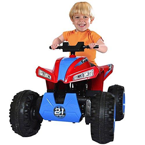 BAKAJI Quad Elettrico 4x4 per Bambini Cavalcabile 4 Motori 12V con 4 Ammortizzatori Luci Fari Funzionanti Sedile in Pelle Radio FM MP3 e Bluethoot Colore Rosso Dimensioni 100 × 70 × 51 cm
