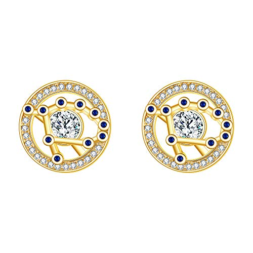 FANZE Mujer Plata de Ley 925 CZ Horóscopo Zodiaco 12 Constelación Stud Pendientes Oro Cumpleaños Regalo Astrología Joya- Geminis