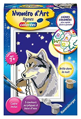 Ravensburger – Numéro d'art mini format – Portrait d'un loup – loisir créatif – kit de peinture acrylique – activite détente – enfant dès 7 ans – 28785
