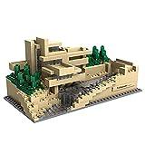 ZzWwYy DIY Mini Diamond Building Falling Water Villa Model Mini Building Blocks Juguetes educativos para niños Regalos Modelo 3D Education Nano Set -19.2 * 8.9cm Amarillo