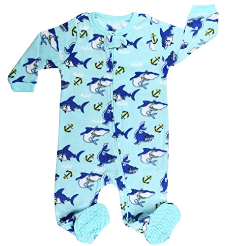 elowel | Pijama Ninos | Ropa De Dormir De Lana Caliente| 1 Pieza | Pijama De Pie | Cálido Y Tierno | 100% Poliéster | Tamaño: 3 Años (98) | Colro: Azul | Diseño: Tiburón
