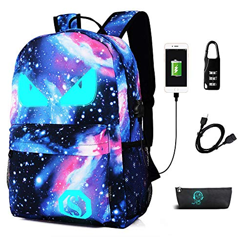 FLYMEI Galaxy Backpack, Anime Luminous Backpack with USB Port, Lightweight Travel Backpack for Boys/Girls, 15.4 Inch Laptop Bag for Work
