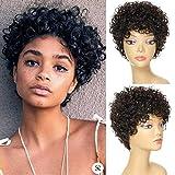 Pelucas de pelo humano corto rizado para mujeres negras afro rizado rizado pelucas para mujeres negras, pelo humano virgen, hecho a máquina, color negro natural