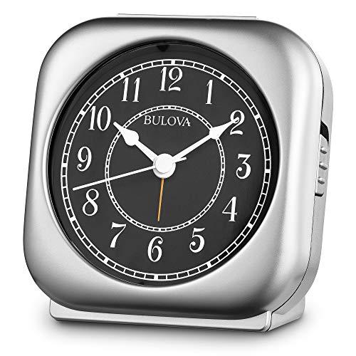 Bulova B1871 Silent Knight Alarm Clock, Silver-Tone