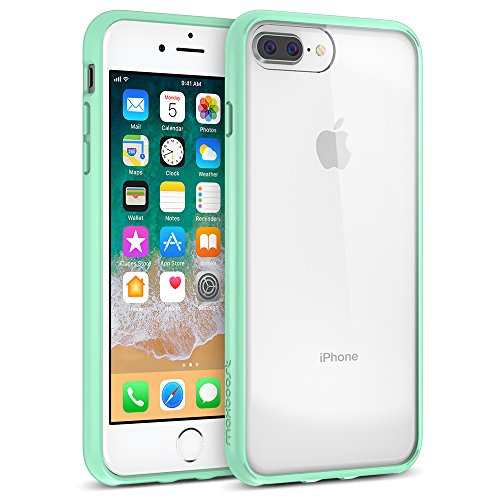 Maxboost HyperPro iPhone 8 Plus / 7 Plus Case [GXD-Gel Drop Protection] Heavy Duty Hybrid Cover for Apple iPhone 7 Plus,8 Plus, iPhone 6s Plus,6 Plus Reinforced TPU Bumper/Hard PC Back -Mint/Clear