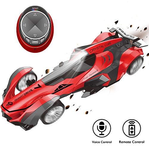 Koiiko Wireless RC Auto da corsa Mini ricaricabile Auto con telecomando per auto a comando vocale con controllo vocale Smart Watch e fari abbaglianti e freni fantastici Giocattoli regalo per bambini