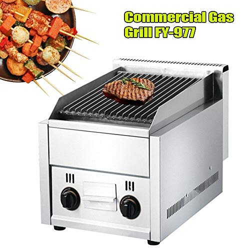 LOYALHEARTDY Large Commercial BBQ Gas Grill Lava Rock Grill Cast Iron Barbecue Cooker Smokeless for Restaurants Party 2 Burner Li-que-fied Pe-trol-eum Gas Gas Grills Natural